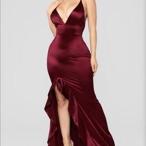 Silk Wine Colored Fashion Nova Evening Dress